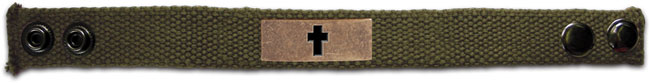 Faith Gear Canvas Bracelet - Bronze Cross